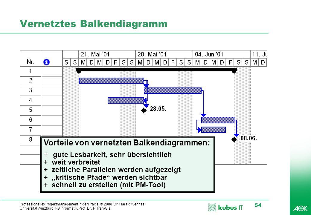kubus IT Professionelles Projektmanagement in der Praxis, © 2008 Dr. Harald Wehnes Universität Würzburg, FB Informatik, Prof. Dr. P.Tran-Gia 54 Vernet