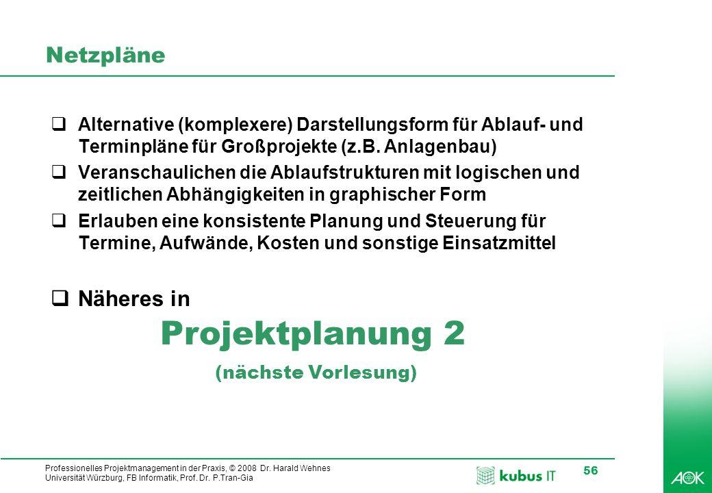 kubus IT Professionelles Projektmanagement in der Praxis, © 2008 Dr. Harald Wehnes Universität Würzburg, FB Informatik, Prof. Dr. P.Tran-Gia 56 Netzpl