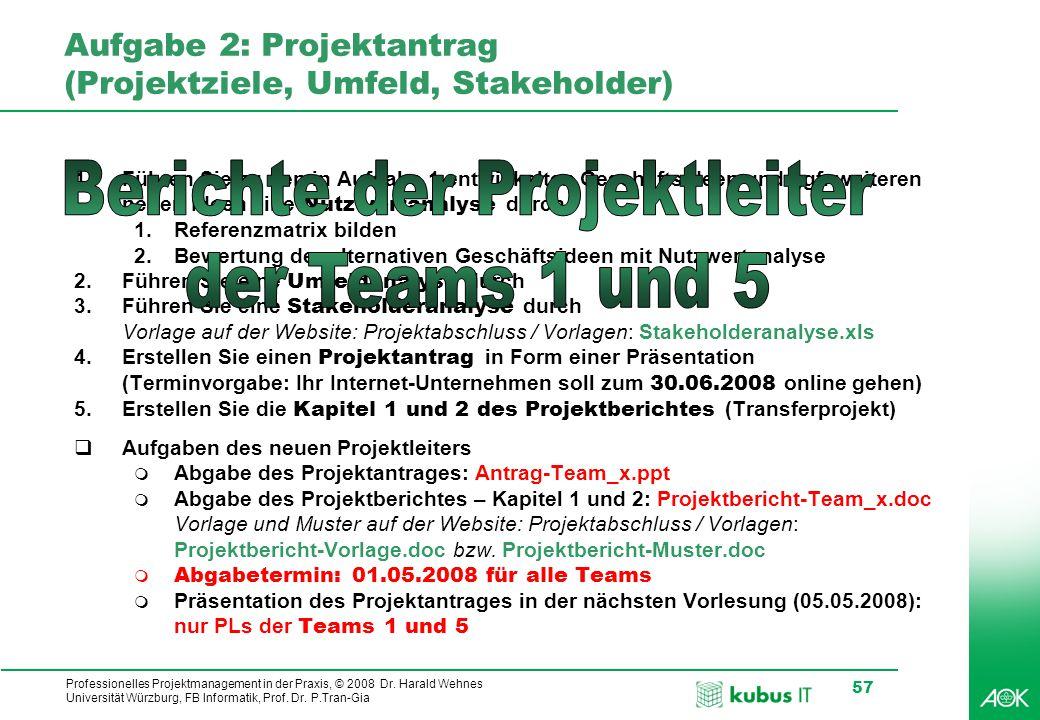 kubus IT Professionelles Projektmanagement in der Praxis, © 2008 Dr. Harald Wehnes Universität Würzburg, FB Informatik, Prof. Dr. P.Tran-Gia 57 Aufgab