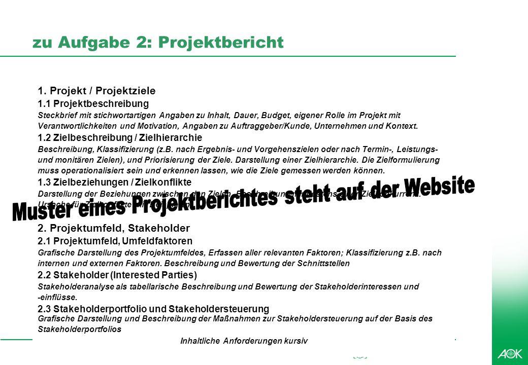 kubus IT Professionelles Projektmanagement in der Praxis, © 2008 Dr. Harald Wehnes Universität Würzburg, FB Informatik, Prof. Dr. P.Tran-Gia 6 zu Aufg