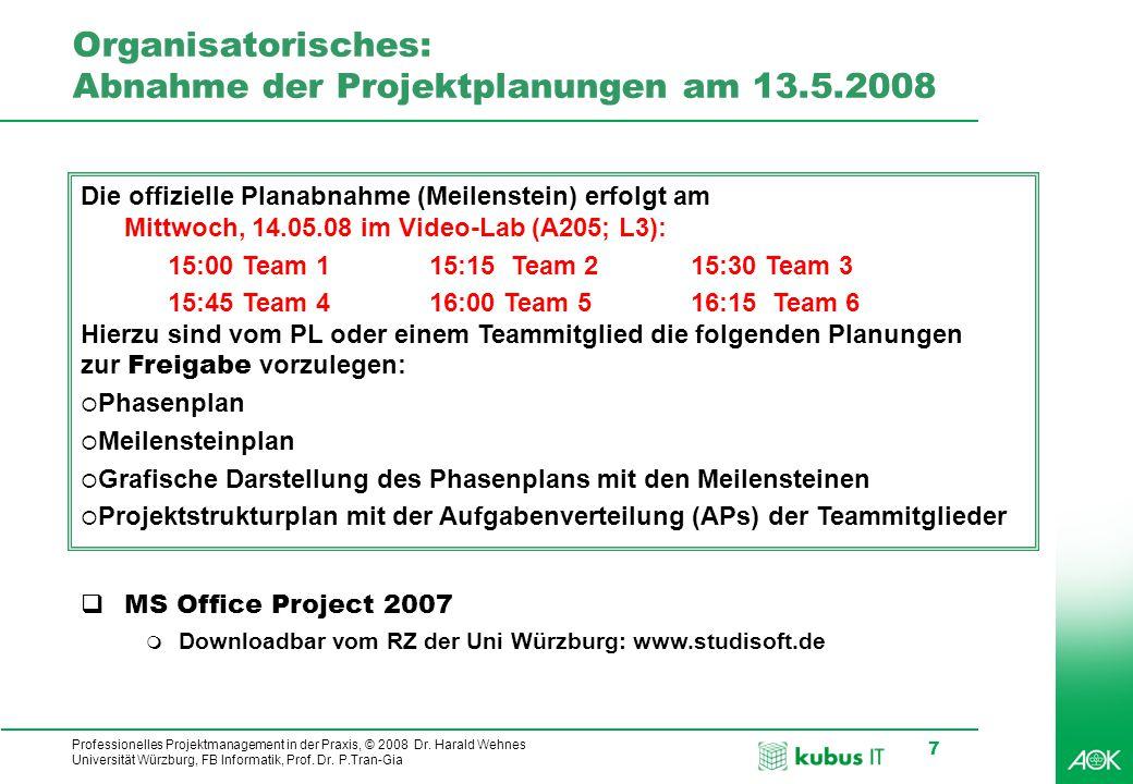 kubus IT Professionelles Projektmanagement in der Praxis, © 2008 Dr. Harald Wehnes Universität Würzburg, FB Informatik, Prof. Dr. P.Tran-Gia 7 Organis