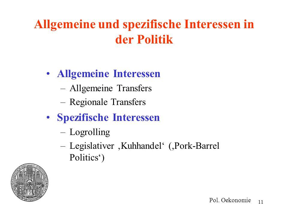 11 Allgemeine und spezifische Interessen in der Politik Allgemeine Interessen –Allgemeine Transfers –Regionale Transfers Spezifische Interessen –Logro
