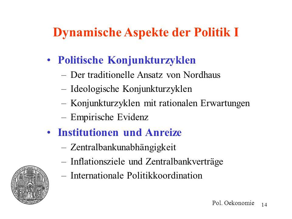 14 Dynamische Aspekte der Politik I Politische Konjunkturzyklen –Der traditionelle Ansatz von Nordhaus –Ideologische Konjunkturzyklen –Konjunkturzykle