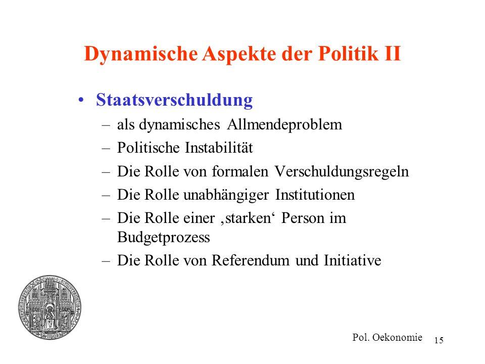 15 Dynamische Aspekte der Politik II Staatsverschuldung –als dynamisches Allmendeproblem –Politische Instabilität –Die Rolle von formalen Verschuldung