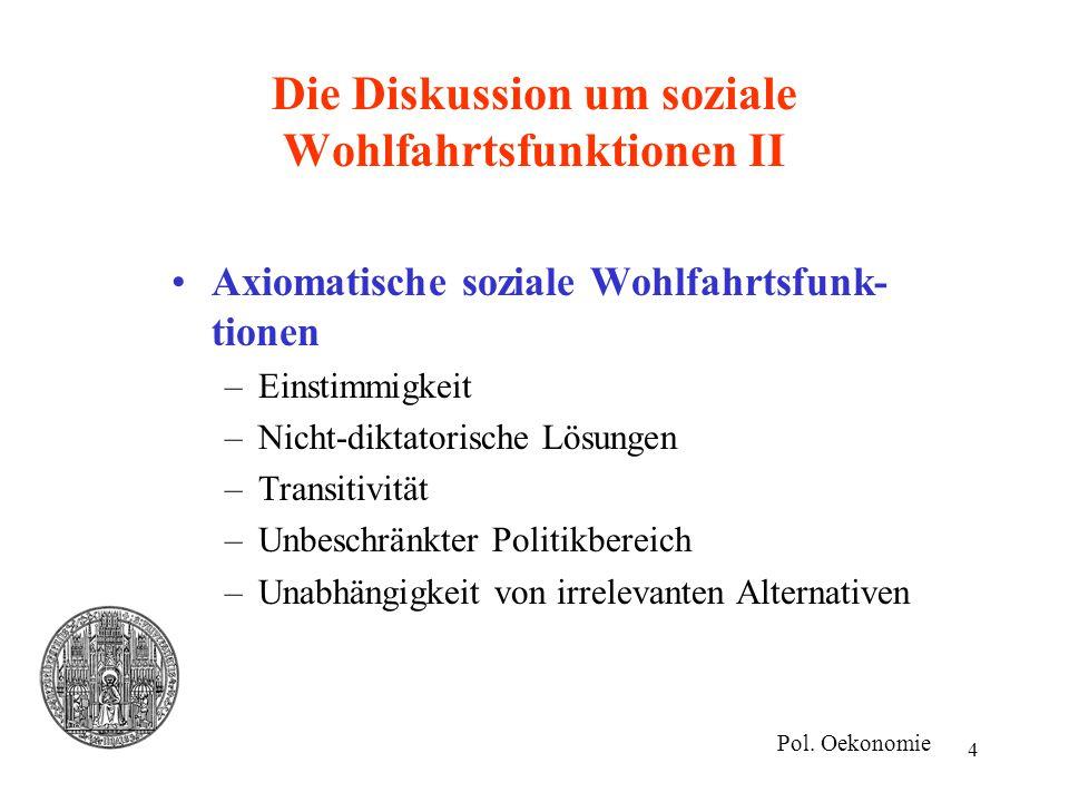 4 Die Diskussion um soziale Wohlfahrtsfunktionen II Axiomatische soziale Wohlfahrtsfunk- tionen –Einstimmigkeit –Nicht-diktatorische Lösungen –Transit