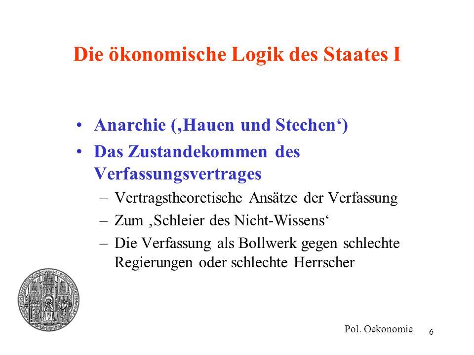 6 Die ökonomische Logik des Staates I Anarchie ('Hauen und Stechen') Das Zustandekommen des Verfassungsvertrages –Vertragstheoretische Ansätze der Ver