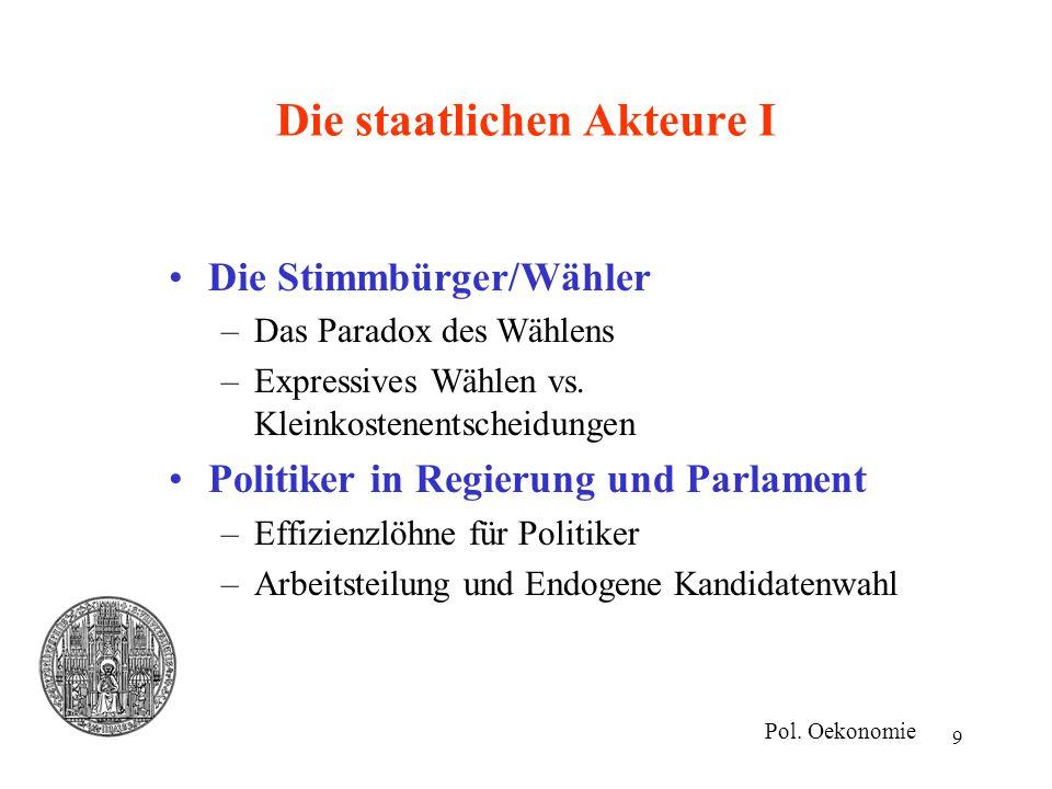 9 Die staatlichen Akteure I Die Stimmbürger/Wähler –Das Paradox des Wählens –Expressives Wählen vs. Kleinkostenentscheidungen Politiker in Regierung u