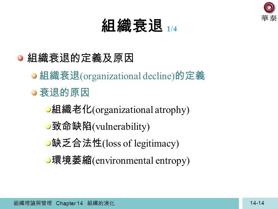 組織理論與管理 Chapter 14 組織的演化 14-14 組織衰退 1/4 組織衰退的定義及原因 組織衰退 (organizational decline) 的定義 衰退的原因 組織老化 (organizational atrophy) 致命缺陷 (vulnerability) 缺乏合法性 (l