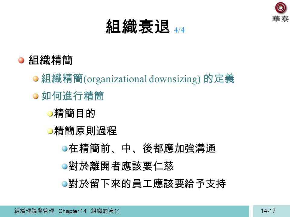 組織理論與管理 Chapter 14 組織的演化 14-17 組織衰退 4/4 組織精簡 組織精簡 (organizational downsizing) 的定義 如何進行精簡 精簡目的 精簡原則過程 在精簡前、中、後都應加強溝通 對於離開者應該要仁慈 對於留下來的員工應該要給予支持