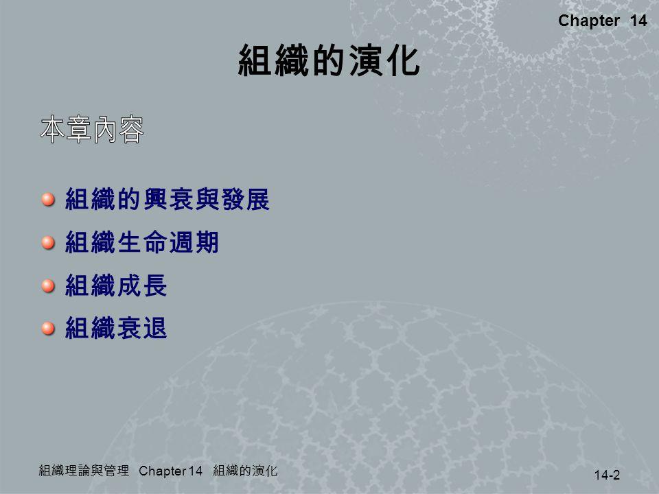 組織理論與管理 Chapter 14 組織的演化 14-2 Chapter 14 組織的演化 組織的興衰與發展 組織生命週期 組織成長 組織衰退