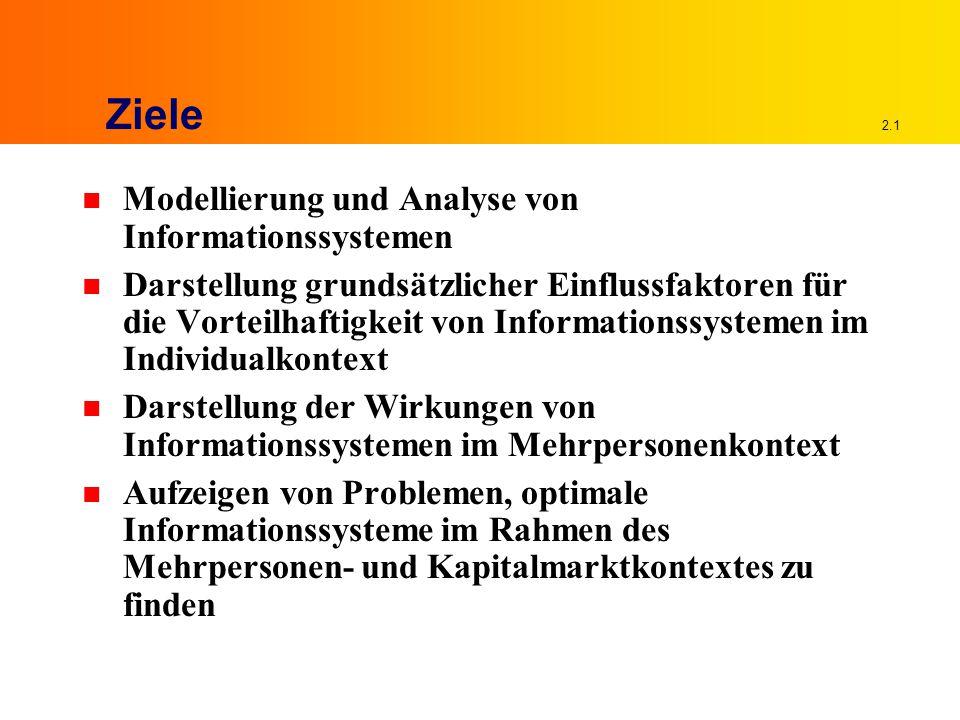 2.1 Ziele n Modellierung und Analyse von Informationssystemen n Darstellung grundsätzlicher Einflussfaktoren für die Vorteilhaftigkeit von Informationssystemen im Individualkontext n Darstellung der Wirkungen von Informationssystemen im Mehrpersonenkontext n Aufzeigen von Problemen, optimale Informationssysteme im Rahmen des Mehrpersonen- und Kapitalmarktkontextes zu finden