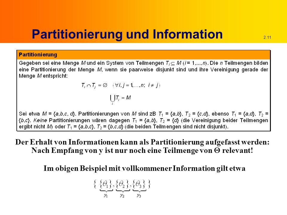 2.11 Partitionierung und Information Der Erhalt von Informationen kann als Partitionierung aufgefasst werden: Nach Empfang von y ist nur noch eine Teilmenge von  relevant.