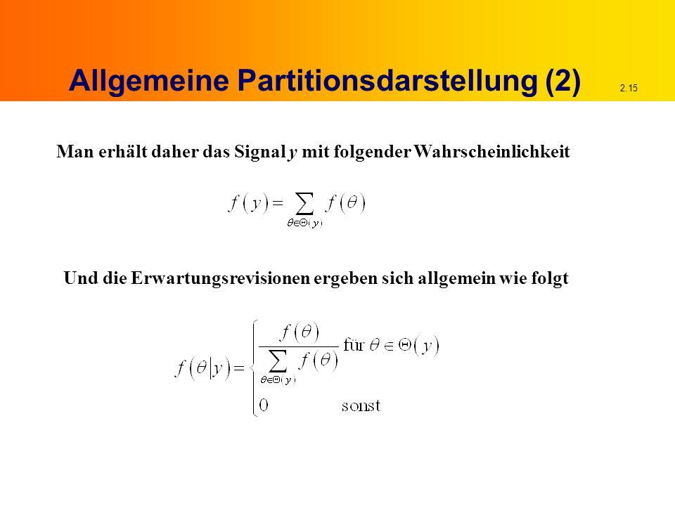 2.15 Allgemeine Partitionsdarstellung (2) Man erhält daher das Signal y mit folgender Wahrscheinlichkeit Und die Erwartungsrevisionen ergeben sich allgemein wie folgt