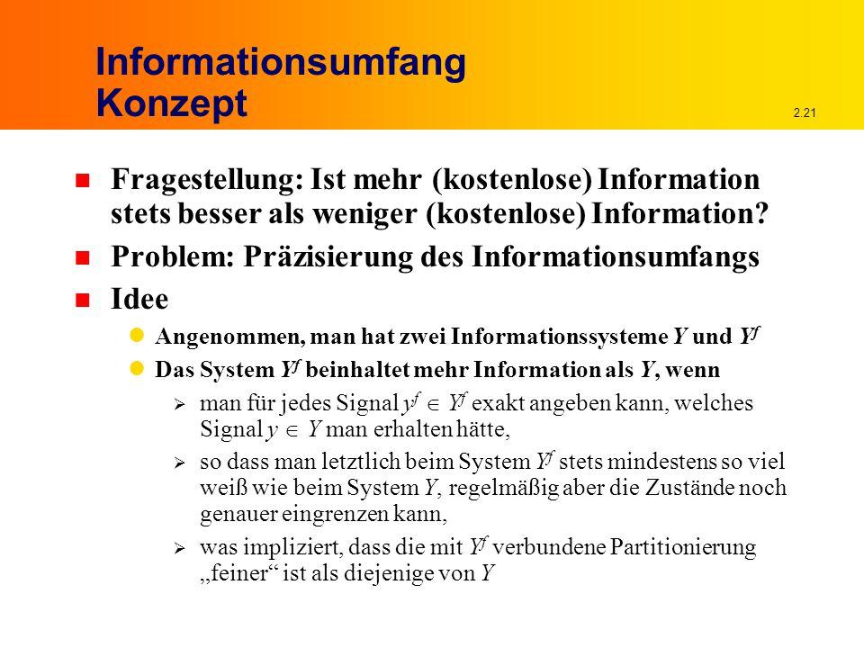 2.21 Informationsumfang Konzept n Fragestellung: Ist mehr (kostenlose) Information stets besser als weniger (kostenlose) Information.