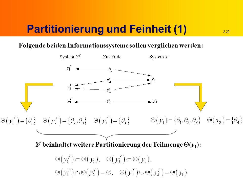 2.22 Partitionierung und Feinheit (1) Folgende beiden Informationssysteme sollen verglichen werden: Y f beinhaltet weitere Partitionierung der Teilmenge  (y 1 ):