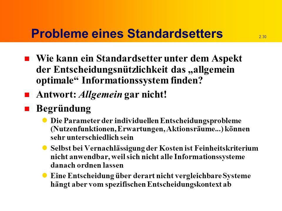 """2.30 Probleme eines Standardsetters n Wie kann ein Standardsetter unter dem Aspekt der Entscheidungsnützlichkeit das """"allgemein optimale Informationssystem finden."""