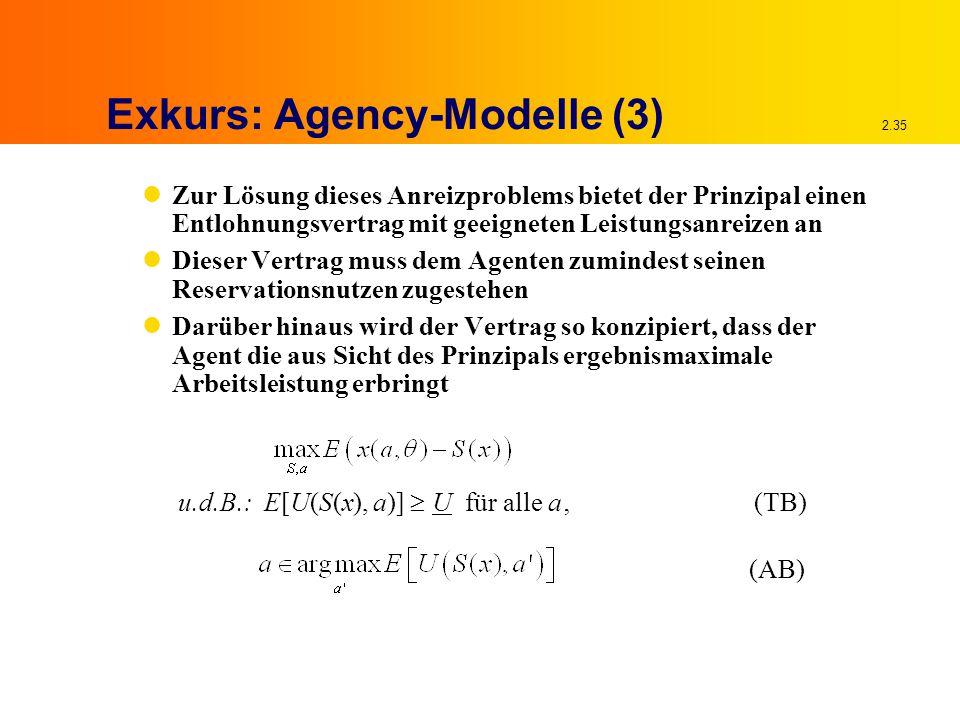 2.35 Exkurs: Agency-Modelle (3) Zur Lösung dieses Anreizproblems bietet der Prinzipal einen Entlohnungsvertrag mit geeigneten Leistungsanreizen an Dieser Vertrag muss dem Agenten zumindest seinen Reservationsnutzen zugestehen Darüber hinaus wird der Vertrag so konzipiert, dass der Agent die aus Sicht des Prinzipals ergebnismaximale Arbeitsleistung erbringt (AB) u.d.B.: E[U(S(x), a)]  U für alle a'(TB)