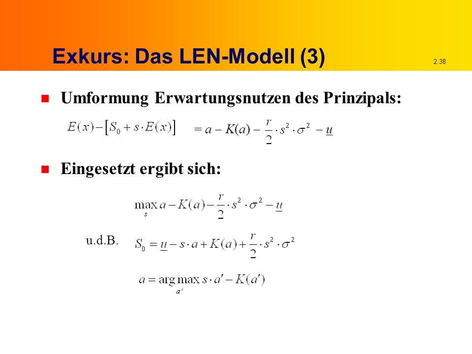 2.38 Exkurs: Das LEN-Modell (3) n Umformung Erwartungsnutzen des Prinzipals: n Eingesetzt ergibt sich: u.d.B.