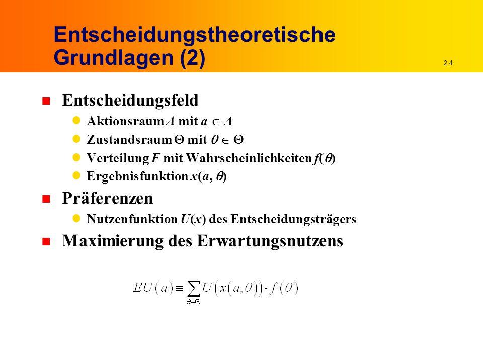 2.4 Entscheidungstheoretische Grundlagen (2) n Entscheidungsfeld Aktionsraum A mit a  A Zustandsraum  mit    Verteilung F mit Wahrscheinlichkeiten f(  ) Ergebnisfunktion x(a,  ) n Präferenzen Nutzenfunktion U(x) des Entscheidungsträgers n Maximierung des Erwartungsnutzens