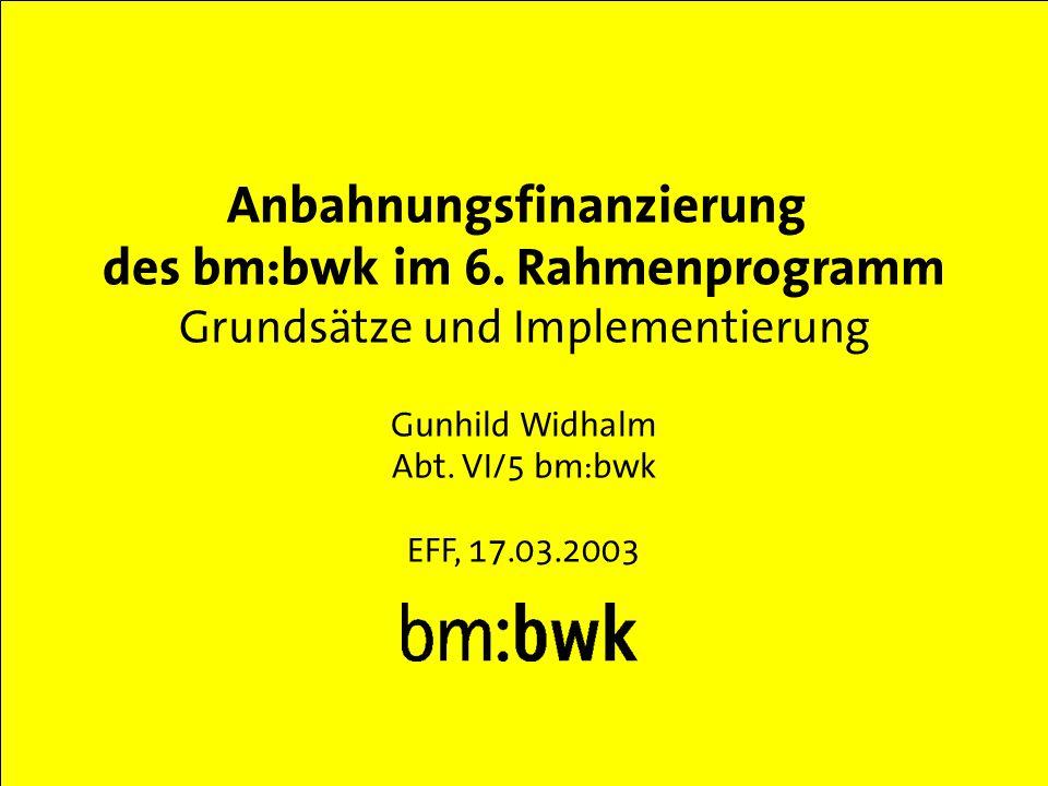 Abt. VI/5 bm:bwk, 17.03.2003 Anbahnungsfinanzierung des bm:bwk im 6.
