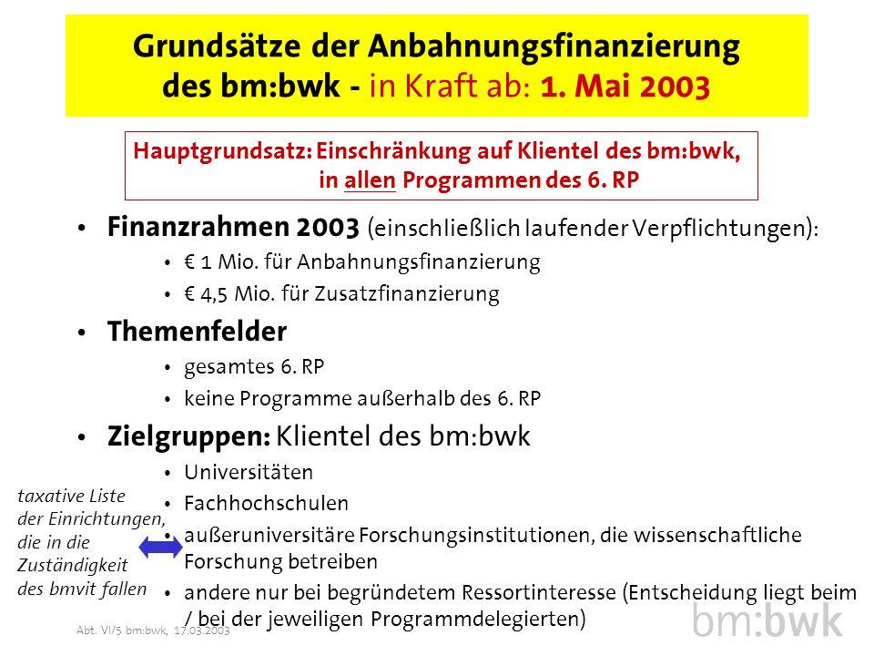 Abt. VI/5 bm:bwk, 17.03.2003 Grundsätze der Anbahnungsfinanzierung des bm:bwk - in Kraft ab: 1.