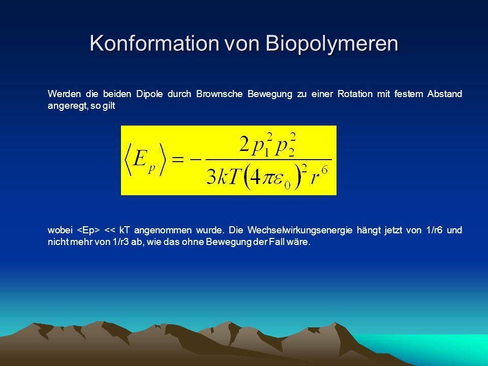 Konformation von Biopolymeren Werden die beiden Dipole durch Brownsche Bewegung zu einer Rotation mit festem Abstand angeregt, so gilt wobei << kT ang