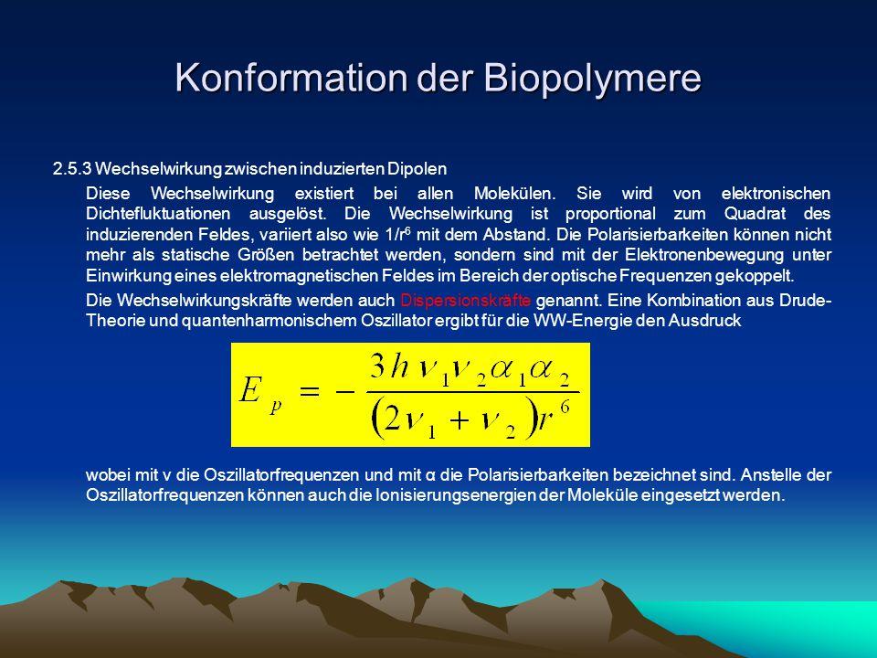 Konformation der Biopolymere 2.5.3 Wechselwirkung zwischen induzierten Dipolen Diese Wechselwirkung existiert bei allen Molekülen. Sie wird von elektr