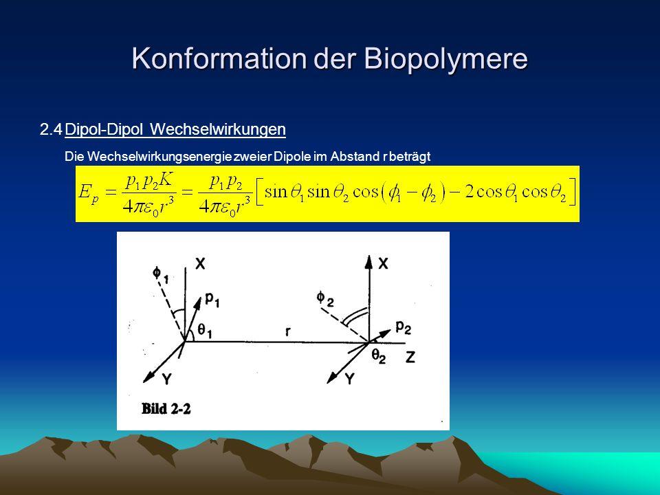 Konformation von Biopolymeren Werden die beiden Dipole durch Brownsche Bewegung zu einer Rotation mit festem Abstand angeregt, so gilt wobei << kT angenommen wurde.