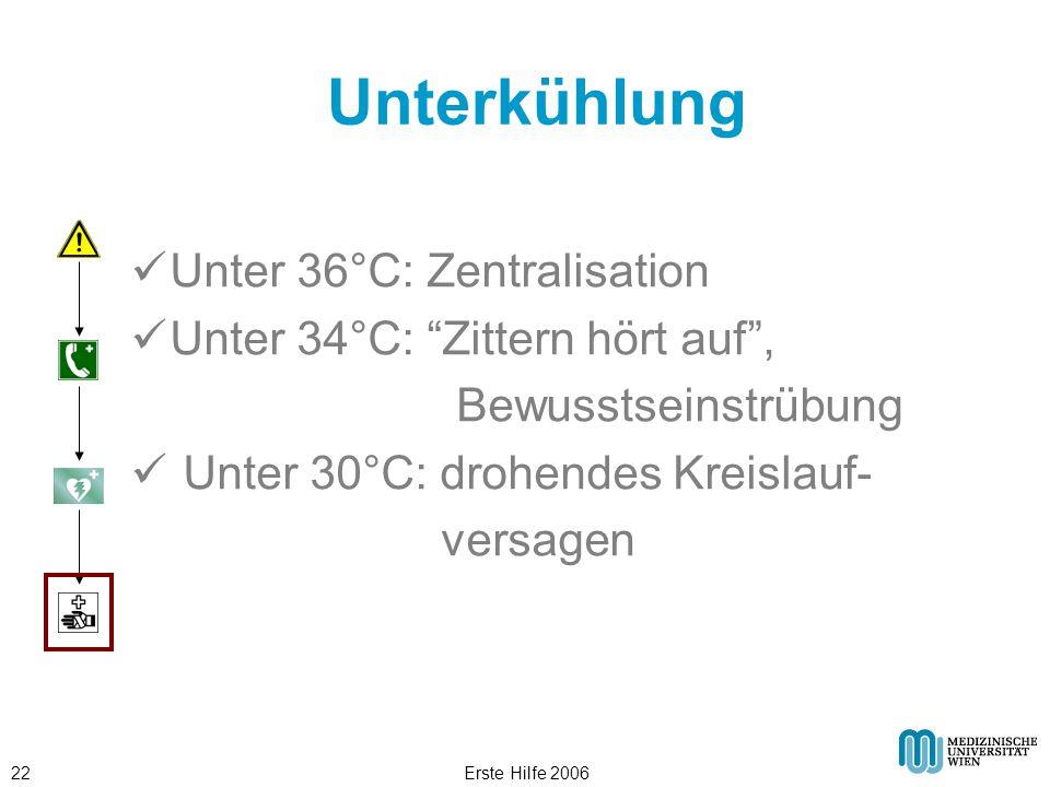"""Erste Hilfe 200622 Unterkühlung Unter 36°C: Zentralisation Unter 34°C: """"Zittern hört auf"""", Bewusstseinstrübung Unter 30°C: drohendes Kreislauf- versag"""