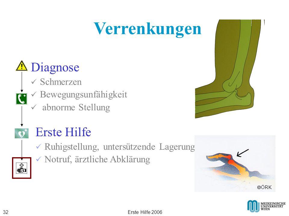 Erste Hilfe 200632 Verrenkungen Diagnose Schmerzen Bewegungsunfähigkeit abnorme Stellung Erste Hilfe Ruhigstellung, untersützende Lagerung Notruf, ärz