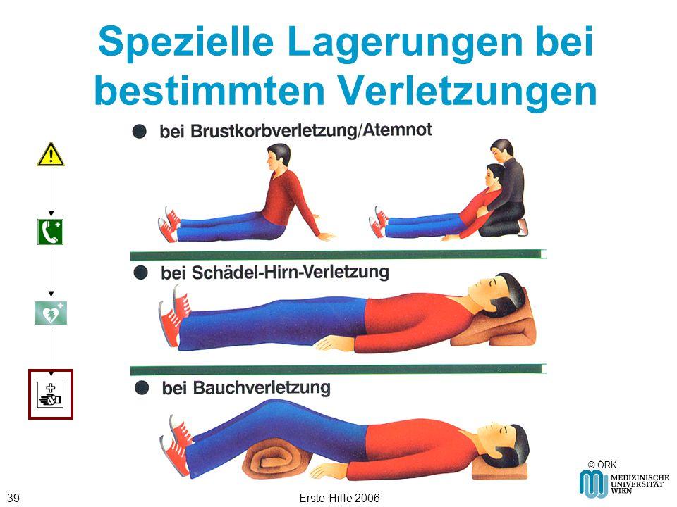 Erste Hilfe 200639 Spezielle Lagerungen bei bestimmten Verletzungen © ÖRK