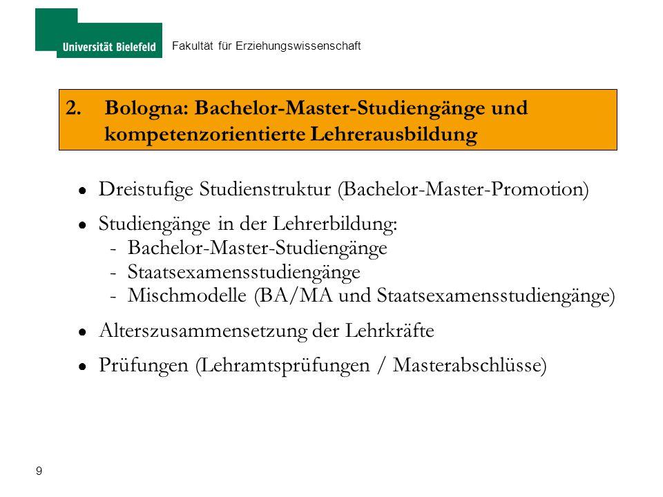 9 Fakultät für Erziehungswissenschaft 2.Bologna: Bachelor-Master-Studiengänge und kompetenzorientierte Lehrerausbildung ● Dreistufige Studienstruktur