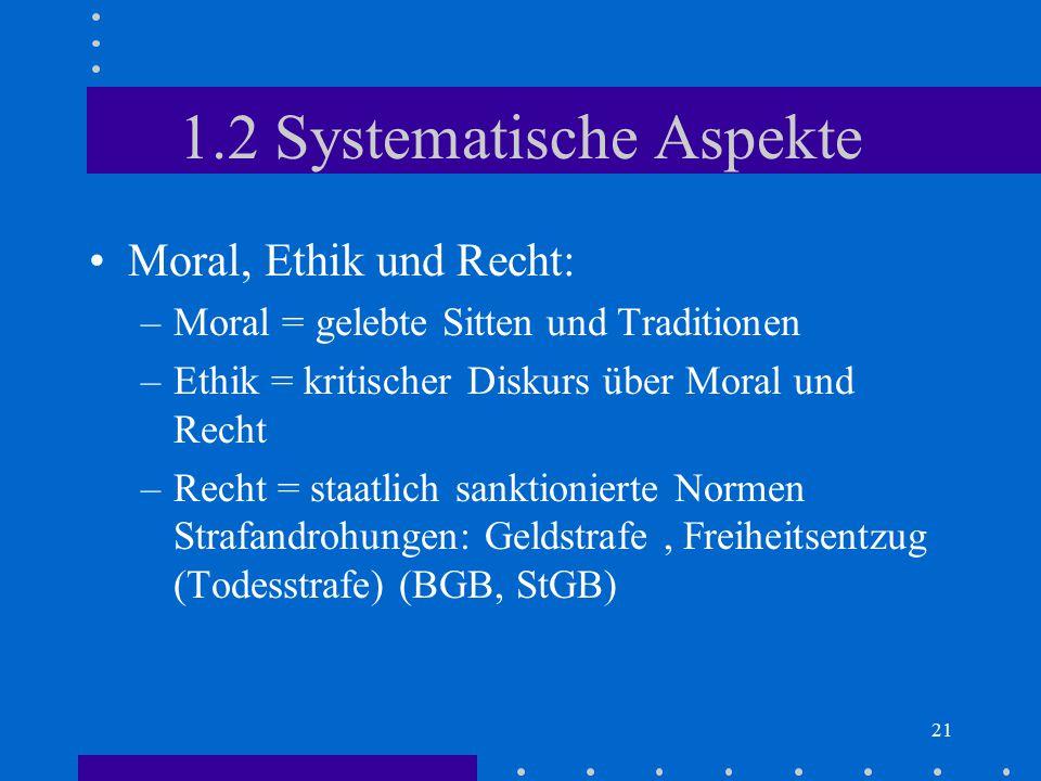 21 1.2 Systematische Aspekte Moral, Ethik und Recht: –Moral = gelebte Sitten und Traditionen –Ethik = kritischer Diskurs über Moral und Recht –Recht =
