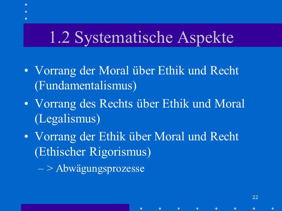 22 1.2 Systematische Aspekte Vorrang der Moral über Ethik und Recht (Fundamentalismus) Vorrang des Rechts über Ethik und Moral (Legalismus) Vorrang de