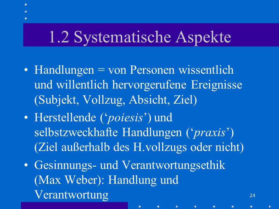 24 1.2 Systematische Aspekte Handlungen = von Personen wissentlich und willentlich hervorgerufene Ereignisse (Subjekt, Vollzug, Absicht, Ziel) Herstel
