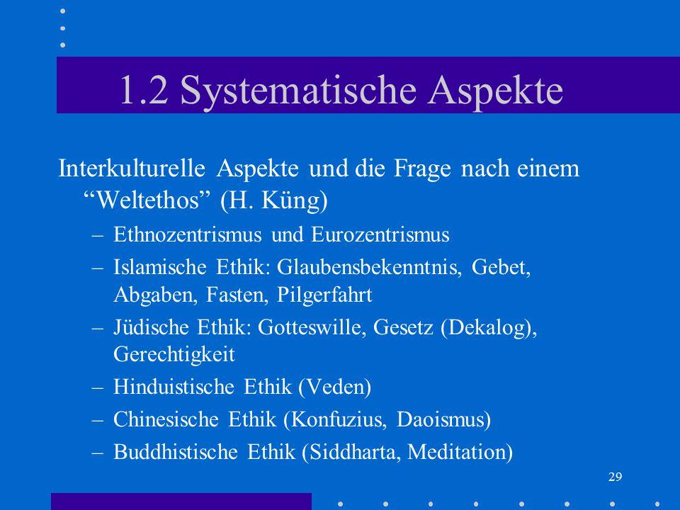 """29 1.2 Systematische Aspekte Interkulturelle Aspekte und die Frage nach einem """"Weltethos"""" (H. Küng) –Ethnozentrismus und Eurozentrismus –Islamische Et"""