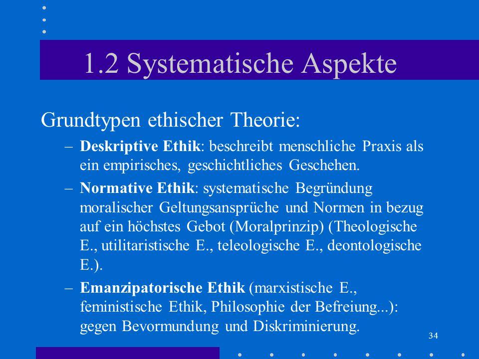 34 1.2 Systematische Aspekte Grundtypen ethischer Theorie: –Deskriptive Ethik: beschreibt menschliche Praxis als ein empirisches, geschichtliches Gesc