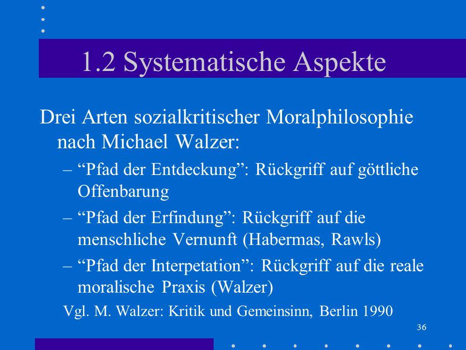 """36 1.2 Systematische Aspekte Drei Arten sozialkritischer Moralphilosophie nach Michael Walzer: –""""Pfad der Entdeckung"""": Rückgriff auf göttliche Offenba"""
