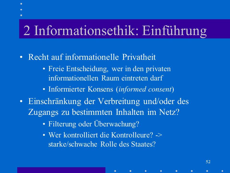 52 2 Informationsethik: Einführung Recht auf informationelle Privatheit Freie Entscheidung, wer in den privaten informationellen Raum eintreten darf I