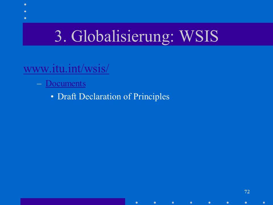 72 3. Globalisierung: WSIS www.itu.int/wsis/ –DocumentsDocuments Draft Declaration of Principles