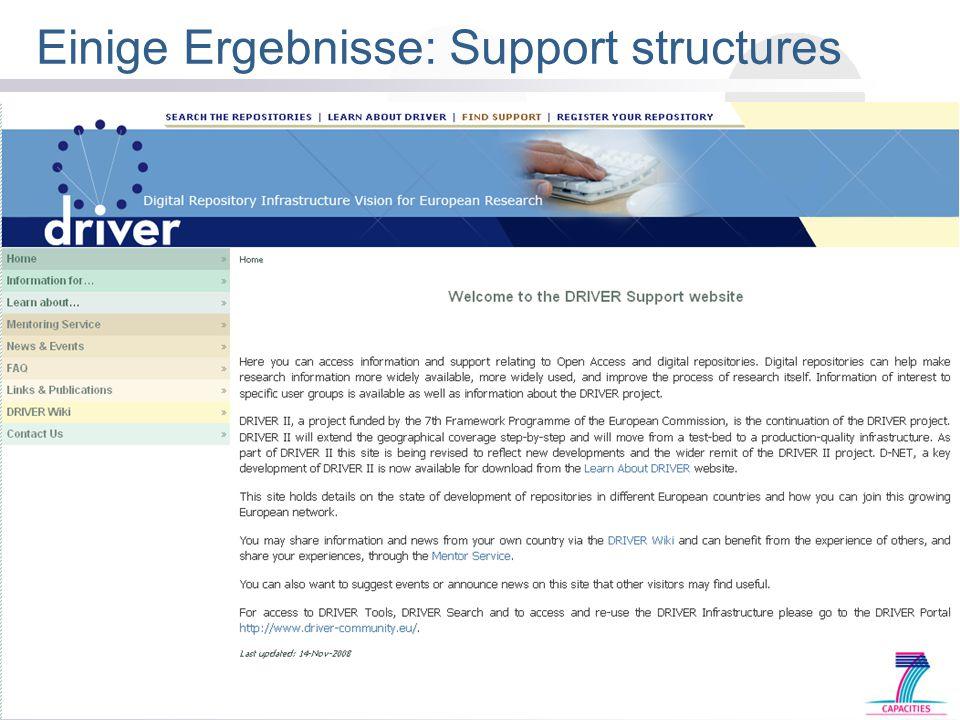 Open Access Fortbildung WGL: Berlin 25-AUG-2009 Einige Ergebnisse: Support structures