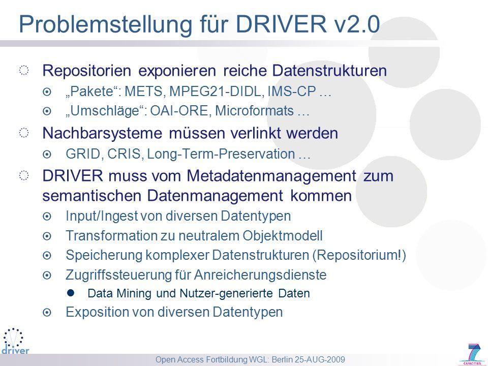 """Open Access Fortbildung WGL: Berlin 25-AUG-2009 Problemstellung für DRIVER v2.0 Repositorien exponieren reiche Datenstrukturen """"Pakete : METS, MPEG21-DIDL, IMS-CP … """"Umschläge : OAI-ORE, Microformats … Nachbarsysteme müssen verlinkt werden GRID, CRIS, Long-Term-Preservation … DRIVER muss vom Metadatenmanagement zum semantischen Datenmanagement kommen Input/Ingest von diversen Datentypen Transformation zu neutralem Objektmodell Speicherung komplexer Datenstrukturen (Repositorium!) Zugriffssteuerung für Anreicherungsdienste Data Mining und Nutzer-generierte Daten Exposition von diversen Datentypen"""