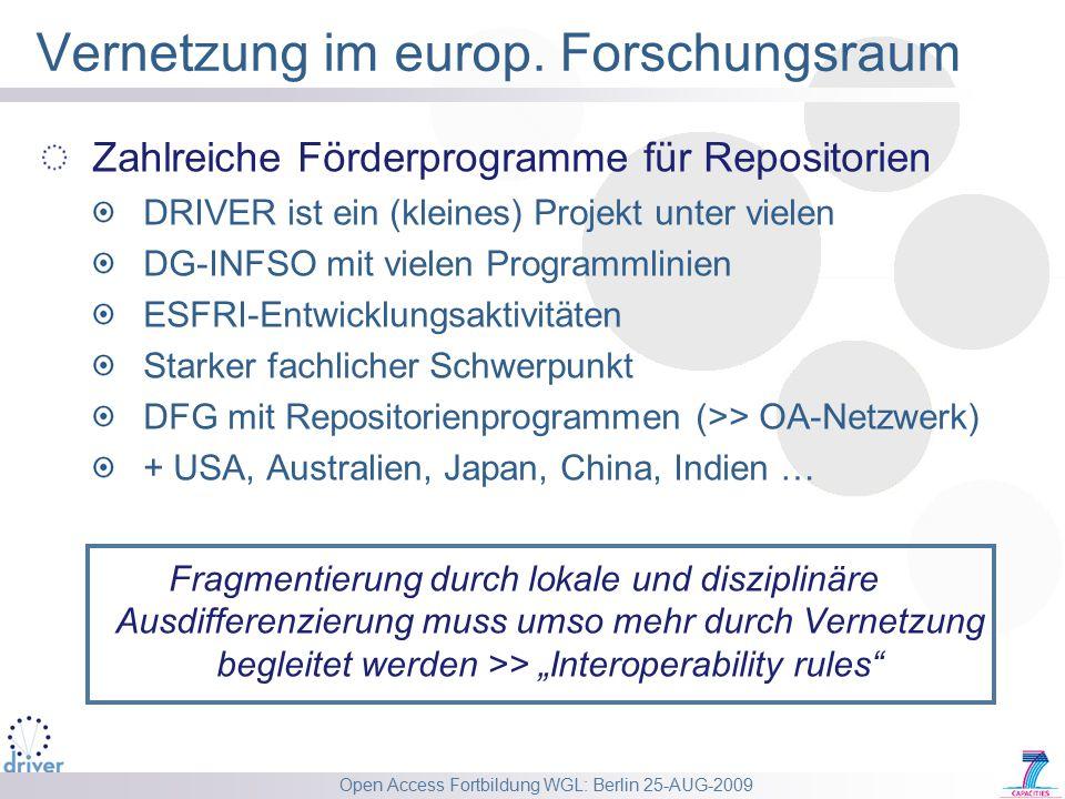 Open Access Fortbildung WGL: Berlin 25-AUG-2009 Vernetzung im europ. Forschungsraum Zahlreiche Förderprogramme für Repositorien DRIVER ist ein (kleine