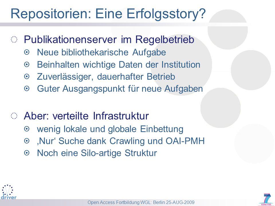 Open Access Fortbildung WGL: Berlin 25-AUG-2009 Repositorien: Eine Erfolgsstory? Publikationenserver im Regelbetrieb Neue bibliothekarische Aufgabe Be