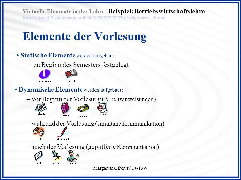 Margareth Gfrerer / TJ- ISW Virtuelle Elemente in der Lehre: Beispiel: Betriebswirtschaftslehre http://wizard.fh-joanneum.at:8900/SCRIPT/BLW1/scripts/serve_home Elemente der Vorlesung http://wizard.fh-joanneum.at:8900/SCRIPT/BLW1/scripts/serve_home Statische Elemente werden aufgebaut: – zu Beginn des Semesters festgelegt Dynamische Elemente werden aufgebaut: : – vor Beginn der Vorlesung ( Arbeitsanweisungen ) – während der Vorlesung ( simultane Kommunikation ) – nach der Vorlesung (gepufferte Kommunikation )
