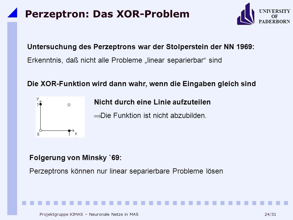 """24/31 UNIVERSITY OF PADERBORN Projektgruppe KIMAS – Neuronale Netze in MAS Perzeptron: Das XOR-Problem Untersuchung des Perzeptrons war der Stolperstein der NN 1969: Erkenntnis, daß nicht alle Probleme """"linear separierbar sind Die XOR-Funktion wird dann wahr, wenn die Eingaben gleich sind Nicht durch eine Linie aufzuteilen  Die Funktion ist nicht abzubilden."""