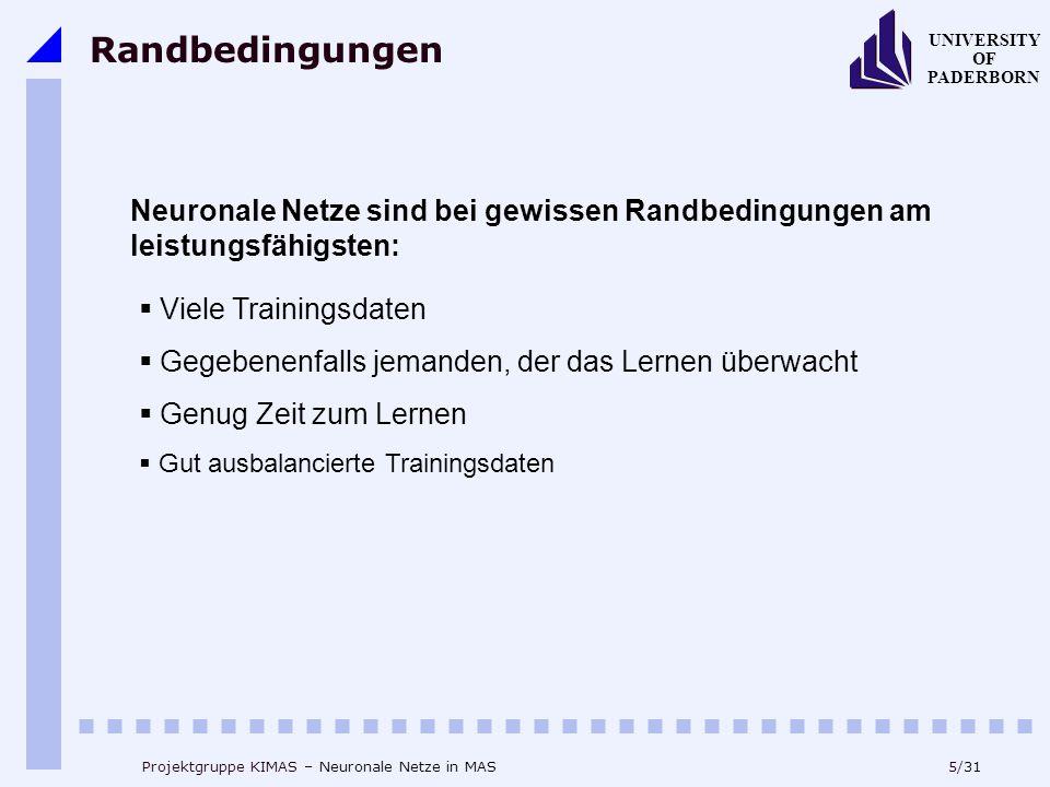 """6/31 UNIVERSITY OF PADERBORN Projektgruppe KIMAS – Neuronale Netze in MAS Das Panzer-Problem """"Panzer gefunden ?""""kein Panzer !."""