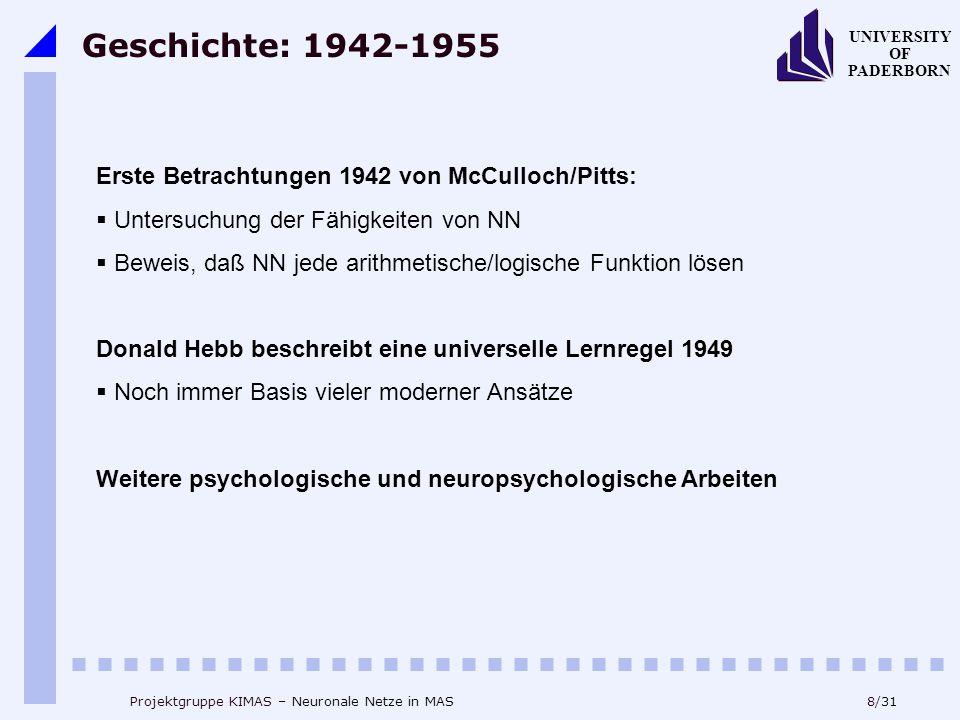 8/31 UNIVERSITY OF PADERBORN Projektgruppe KIMAS – Neuronale Netze in MAS Geschichte: 1942-1955 Erste Betrachtungen 1942 von McCulloch/Pitts:  Untersuchung der Fähigkeiten von NN  Beweis, daß NN jede arithmetische/logische Funktion lösen Donald Hebb beschreibt eine universelle Lernregel 1949  Noch immer Basis vieler moderner Ansätze Weitere psychologische und neuropsychologische Arbeiten