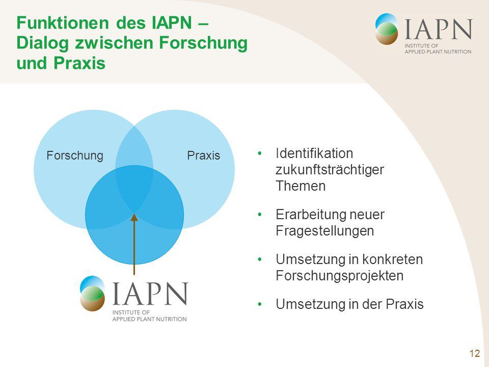 12 Funktionen des IAPN – Dialog zwischen Forschung und Praxis ForschungPraxis Identifikation zukunftsträchtiger Themen Erarbeitung neuer Fragestellungen Umsetzung in konkreten Forschungsprojekten Umsetzung in der Praxis