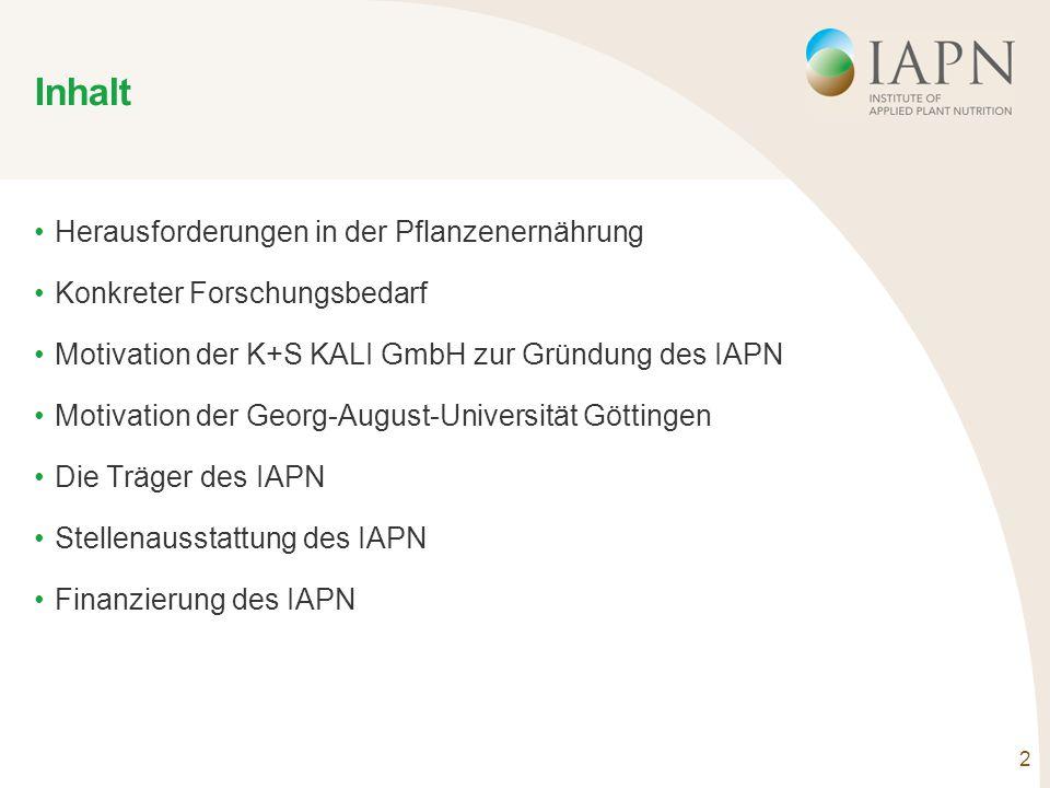 2 Inhalt Herausforderungen in der Pflanzenernährung Konkreter Forschungsbedarf Motivation der K+S KALI GmbH zur Gründung des IAPN Motivation der Georg-August-Universität Göttingen Die Träger des IAPN Stellenausstattung des IAPN Finanzierung des IAPN